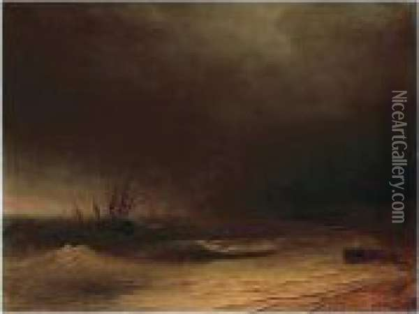 Shipping In A Stormy Crimean Sea Oil Painting - Ivan Konstantinovich Aivazovsky