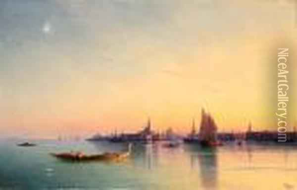 Sunset Over The Venetian Lagoon Oil Painting - Ivan Konstantinovich Aivazovsky