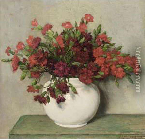 A Still Life With Red Carnations In A Vase Oil Painting - Johannes Evert Akkeringa