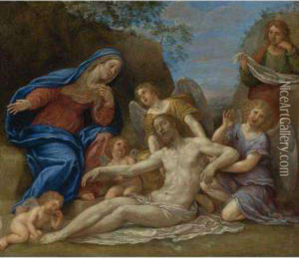Lamentation With The Virgin, St. John And Angels Oil Painting - Francesco Albani