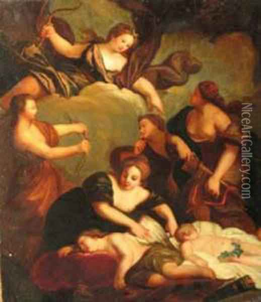 Diana And Her Fellows Destroying ... Oil Painting - Francesco Albani