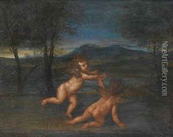 Putti Playing In An Open Landscape Oil Painting - Francesco Albani