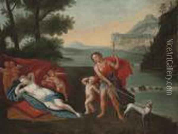 Venus And Adonis In A Landscape With Putti Oil Painting - Francesco Albani