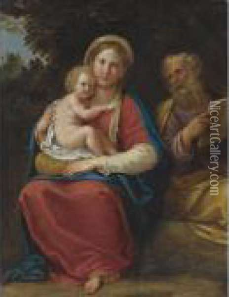 Holy Family In A Landscape Oil Painting - Francesco Albani