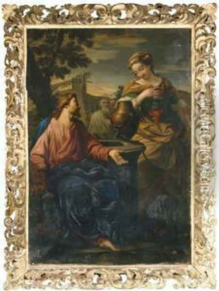 Christ And The Woman Of Samaria Oil Painting - Francesco Albani