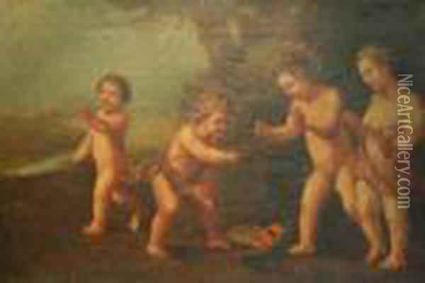 Cherubs Playing With A Mask Oil Painting - Francesco Albani