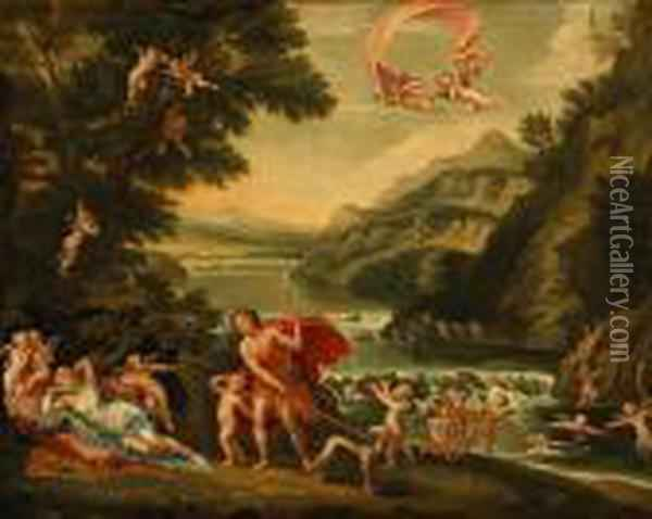Adonis Led By Cupid To Venus; Love Disarmed; Venus And Vulcan (a Group Of Three) Oil Painting - Francesco Albani