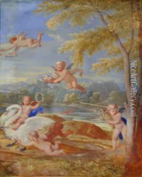 Cupids With A Swan In A Landscape Oil Painting - Francesco Albani