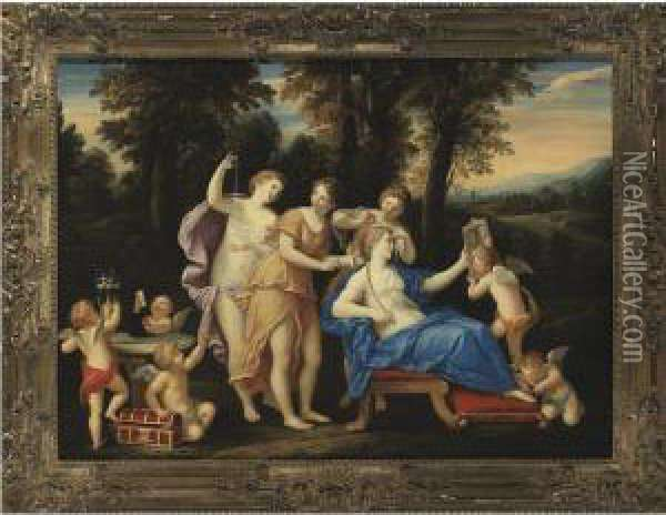 Toilet Of Venus Oil Painting - Francesco Albani