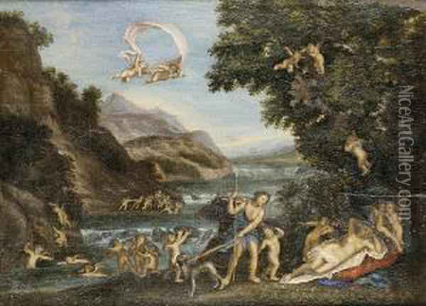 Venus And Adonis; Together With, Diana's Nymphs Disarming Sleeping Cupids Oil Painting - Francesco Albani