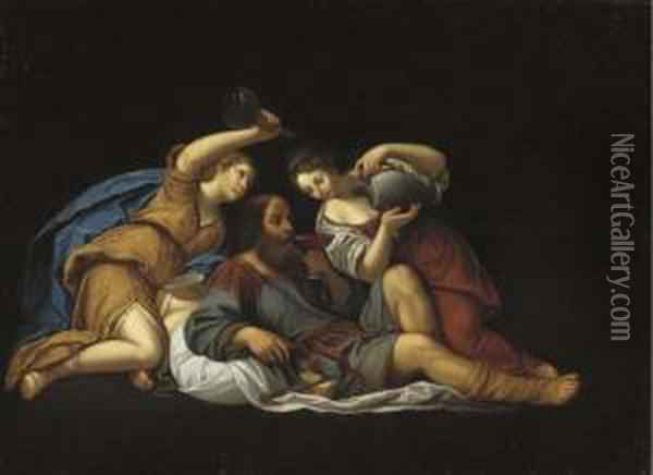 Lot Made Drunk By His Two Daughters Oil Painting - Francesco Albani