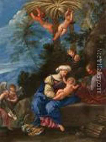 The Rest On The Flight Into Egypt Oil Painting - Francesco Albani