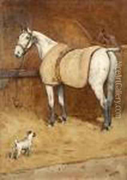 Horse And Terrier In A Stable Interior Oil Painting - Cecil Charles Aldin