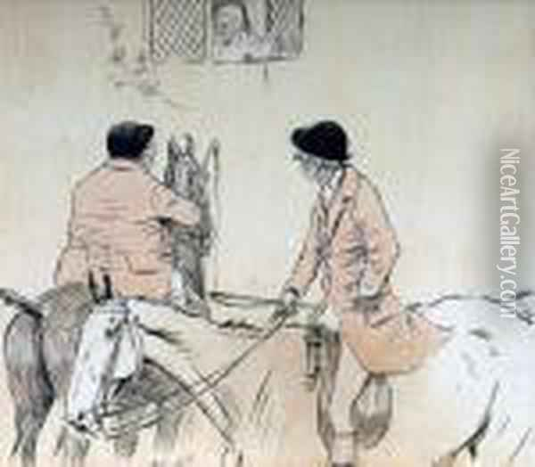 Mr Jorrocks Asking For Directions Oil Painting - Cecil Charles Aldin