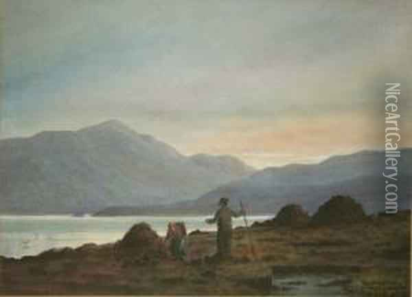 Gathering Peat, Co. Donegal Oil Painting - Douglas Alexander