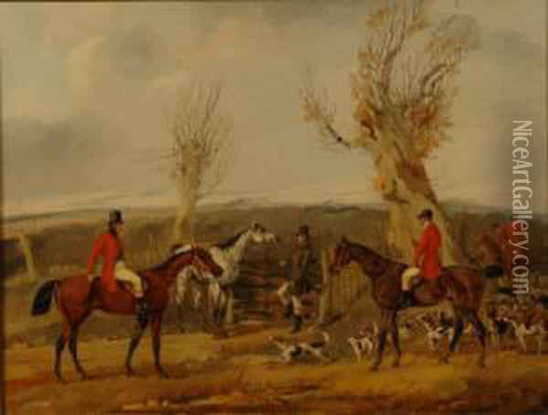 'going To Cover' 'gone Away', 'full Cry' And 'the Death' A Set Of Four Hunting Scenes Oil Painting - Henry Thomas Alken