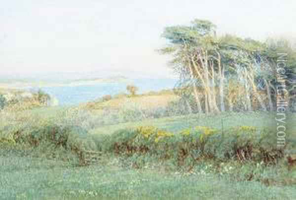 'freshwater Bay From Farringford' (tennyson's House), Isle Of Wight Oil Painting - Helen Mary Elizabeth Allingham