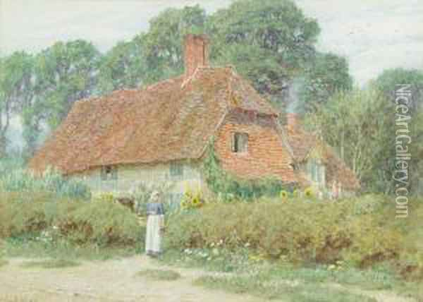 By The Cottage Gate, Mayfield, Eastsussex Oil Painting - Helen Mary Elizabeth Allingham