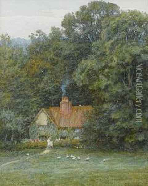 The Cottage In The Woods Oil Painting - Helen Mary Elizabeth Allingham
