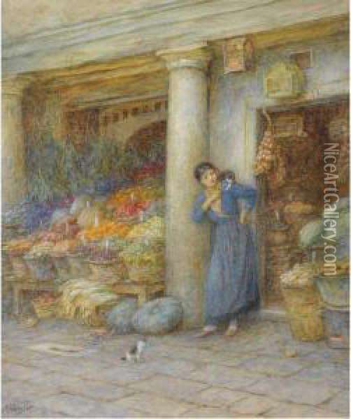 A Venetian Fruit Stall Oil Painting - Helen Mary Elizabeth Allingham
