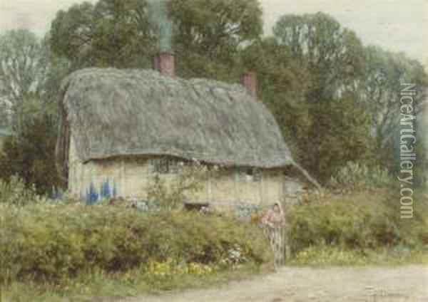A Young Girl Outside A Cottage In Hagbourne, Berkshire Oil Painting - Helen Mary Elizabeth Allingham
