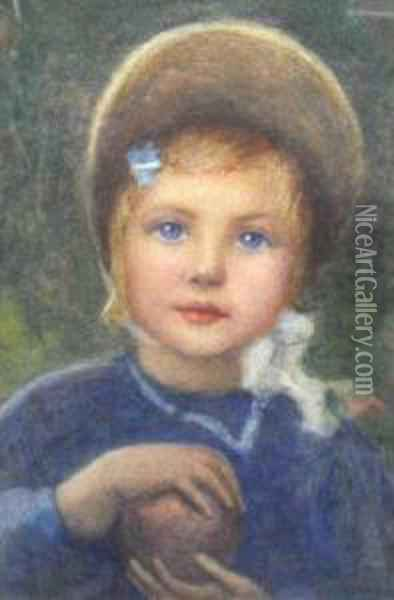 Portrait Of A Young Girl In A Bonnet Holding Anapple Oil Painting - Helen Mary Elizabeth Allingham