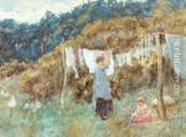 Study For The Clothes Line Oil Painting - Helen Mary Elizabeth Allingham