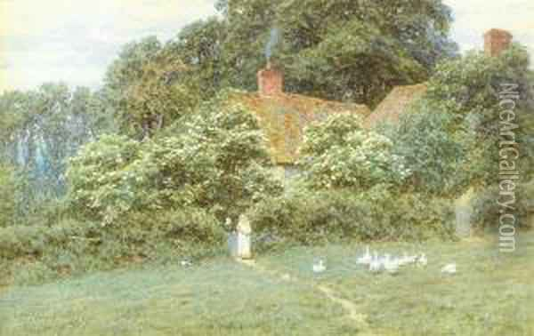 A Cottage At Farringford, Isle Of Wight Oil Painting - Helen Mary Elizabeth Allingham