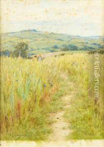 Through The Corn, Downton, Wilts Oil Painting - Helen Mary Elizabeth Allingham