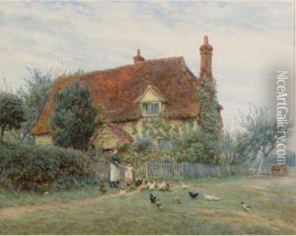 Feeding Time At The Cottage Oil Painting - Helen Mary Elizabeth Allingham