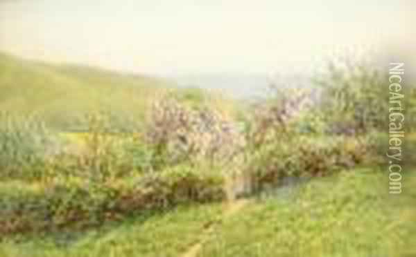View Of The South West Corner Of The Tennyson Estate, Isle Of Wight Oil Painting - Helen Mary Elizabeth Allingham