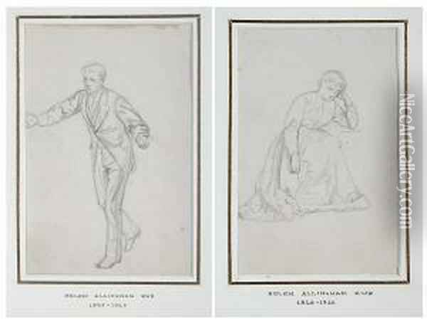 Study Of A Seated Woman, And Another, A Study Of A Man Gesturing Oil Painting - Helen Mary Elizabeth Allingham