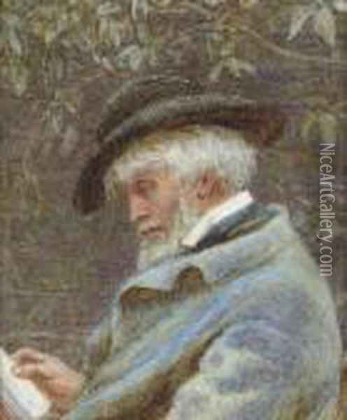 Study Of Thomas Carlyle (1795-1881) Reading In His Garden Oil Painting - Helen Mary Elizabeth Allingham