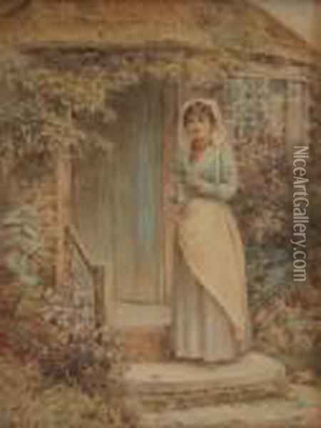 Study Of A Lady Wearing A Whitebonnet And Blue Dress With White Pinafore Oil Painting - Helen Mary Elizabeth Allingham