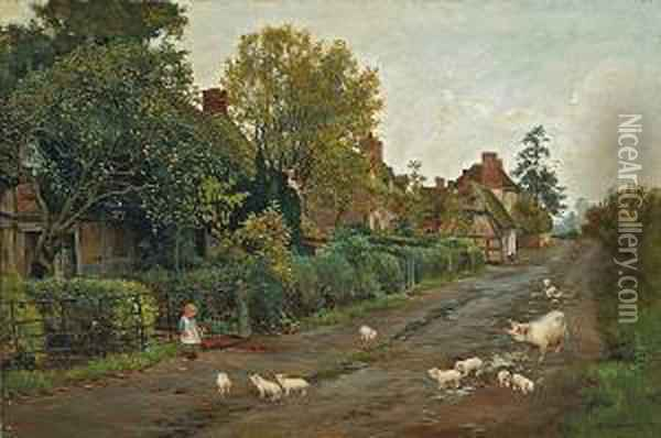 A Sow And Her Piglets Outside A Row Ofcottages With A Small Child Looking On Oil Painting - Helen Mary Elizabeth Allingham