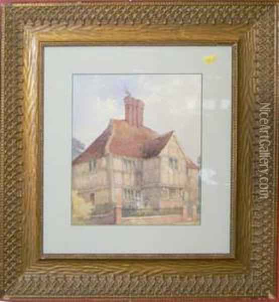 A Country House With Figures, Bears Signature Oil Painting - Helen Mary Elizabeth Allingham