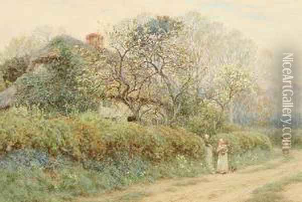 A Cottage At Freshwater Gate, Isle Of Wight Oil Painting - Helen Mary Elizabeth Allingham