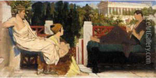 Figures On The Terrace By The Acropolis Oil Painting - Sir Lawrence Alma-Tadema