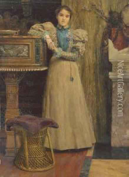 Portrait Of Clothilde Enid, Daughter Of Edward Onslow Ford Oil Painting - Sir Lawrence Alma-Tadema