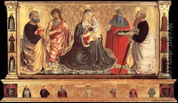 Madonna and Child with Sts John the Baptist, Peter, Jerome, and Paul 1456 Oil Painting - Benozzo di Lese di Sandro Gozzoli