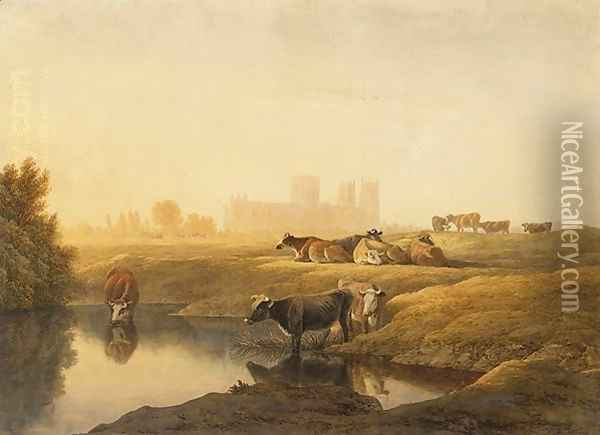Cattle in Water Meadows with York Minster in the Distance Oil Painting - John Glover