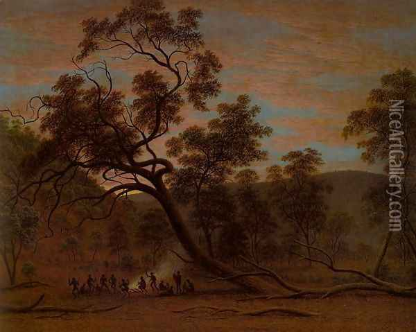 Corrobery of Natives in Mills Plains Oil Painting - John Glover