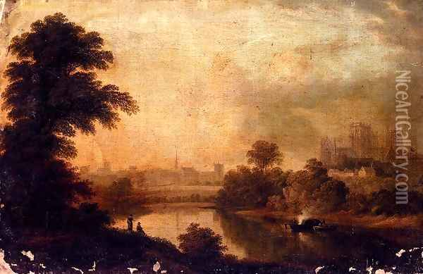 A View Of Ripon Cathedral From Across The River Ure Oil Painting - John Glover