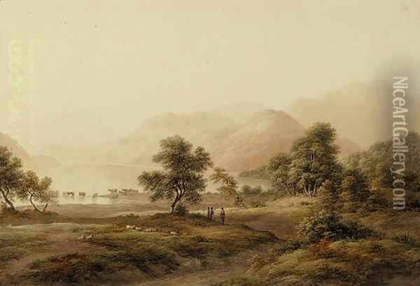 Shepherds with Sheep and Cattle Oil Painting - John Glover