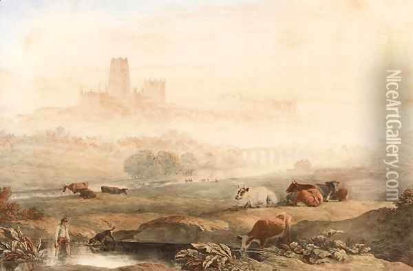 View of Durham Oil Painting - John Glover