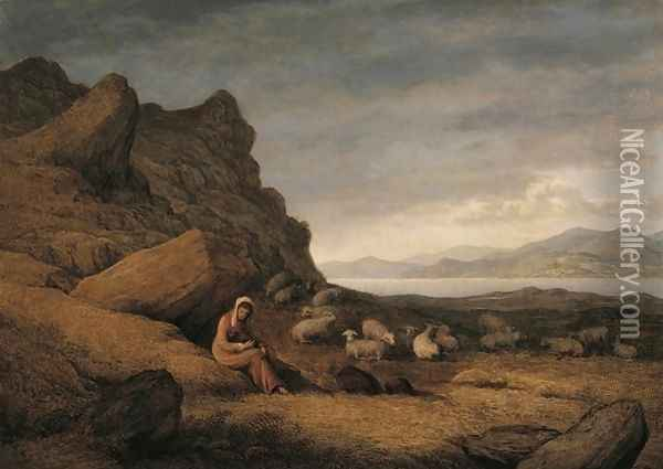 Lake Scene with Seated Figure and Sheep Oil Painting - John Glover