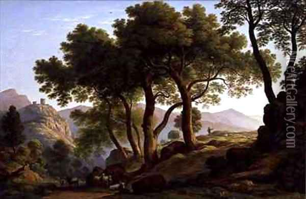 A Romantic Wooded Landscape Oil Painting - John Glover