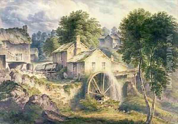 Mill in Bonsall Dale Derbyshire Oil Painting - John Glover