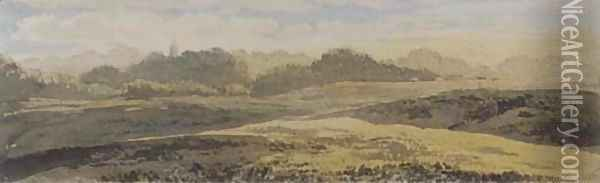A wooded landscape with a church spire in the distance Oil Painting - John Glover