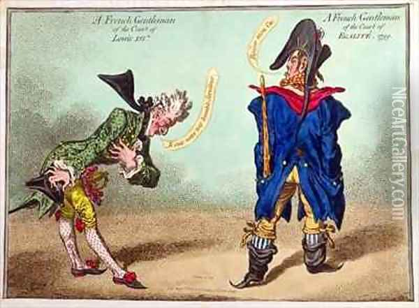 A French Gentleman of the Court of Louis XVI and a French Gentleman of the Court of Egalite Oil Painting - James Gillray